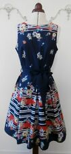 Retro 1960's Navy, Orange & White Floral Day Dress by Red Herring UK Size 10