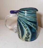 vintage hand blown art studio glass iridescent pulled HENRY LEVINE mug pitcher