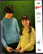 Vintage Knitting Pattern, Emu, Childs Sweater, DK, 24-34in, 6425