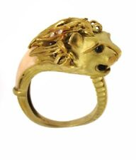 Vintage Lion's Head Ring with Coral and Diamonds in 18k YG--HM1896