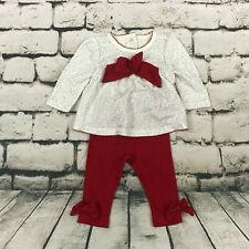 NWT Gymboree Outfit Christmas Holiday Red Cream Silver Size 3-6 Months