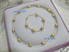 "19"" Charming AAA+ 10-12mm south sea golden baroque pearl necklace + bracelet 14k"