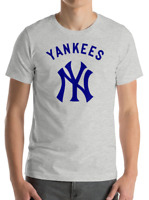New York YANKEES gray T-Shirt Graphic Cotton Men Adult Logo Jersey NY S-2XL