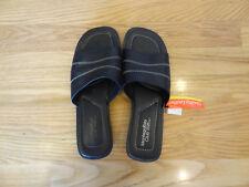 Montego Bay Womens Slides Sandals Peeptoe Black Size 8 Leather Upper Slip On