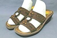 EARTH SPIRIT Women Casual Slip-On Comfort Sandals Size 6.5 M Brown Leather Upper