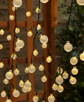 50-Bulb Solar String Lights Garden Porch Patio Deck Outdoor Decor Multi or White