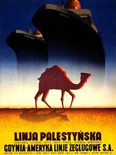 ADVERT TRAVEL TOURISM LINER SHIP CAMEL DESERT POLAND PALESTINE PRINT LV1299