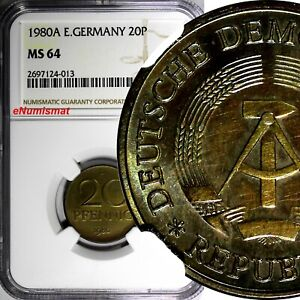 German-Democratic DDR 1980-A 20 Pfennig NGC MS64 TOP GRADED COIN KM# 11 (013)