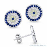 Evil Eye Turkish Nazar Greek Mati Hamsa Charm Sterling Silver 10mm Stud Earrings