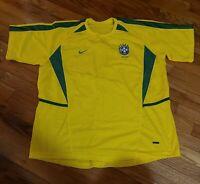 Nike Dri-fit BRAZIL Home Soccer Jersey Men's XL Yellow Green CBF Authentic EUC