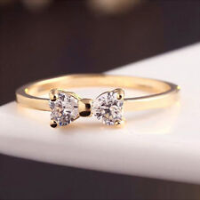 Charming Crystal Women Fashion Wedding New Ring 18K Gold Plated Bow Jewelry