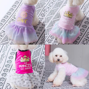 Puppy Dog Clothes Summer Pet Gauze Dress for Small Dog Birthday Princess Apparel