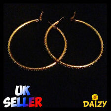 Gorgeous Big Round Gold Hoop Earrings with Design - Large Size - 2.5in 60mm 6cm