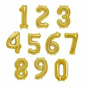 Giant Birthday Age Number Gold 0/1/2/3/4/5/6/7/8/9 Birthday Helium Foil Balloons