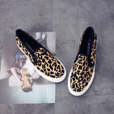 Womens Round Toe Canvas Leopard Loafers Thick Sole Casual Flat Shoes Slip-on BN