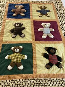 "Vintage 3-D Stuffed Teddy Bear Quilt 50"" x 60"" Throw #831"