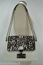 MARC JACOBS Safari Large Single Zebra Calf Hair Ivory Lambskin Shoulder Bag 1595