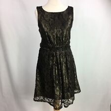 Oasis Womens Dress Black Size S 10 Floral Gold UK T3