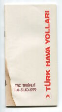 THY TURKISH AIRLINES TIMETABLE SUMMER 1979 TURK HAVA YOLLARI TK