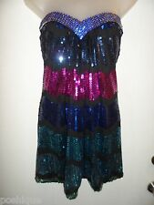 Sky Brand S Dress RHINESTONE CRYSTALS Sequin Blue Hot Pink Black Vegas Club SEXY