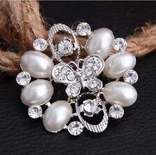 Vintage Look Faux Pearl & Butterfly Diamante Rhinestone Crystal Flower  Brooch