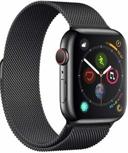 Apple i-Watch Serious 4, GPS-Cellular, Edelstahl in Schwarz + Milanaise-Armband
