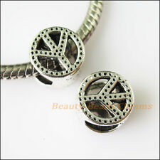 8 New Peace Tibetan Silver Spacer Beads fit European Charm Bracelets 10mm