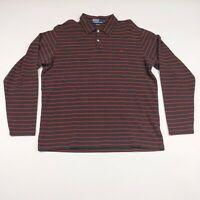 Mens Polo Ralph Lauren Large Gray With Red Stripes Long Sleeve Polo Shirt