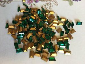 Swarovski #4500 Baguette Rhinestone Emerald 5x3mm GF pack x12 REPAIR CRAFT