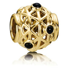 New Authentic Pandora 14k Gold Black Onyx Constellation Charm 750508ON Pouch Box