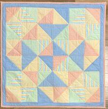 """Baby Quilt Handmade Boy's Blue Orange Yellow Patchwork Crib Blanket 40""""x40"""""""