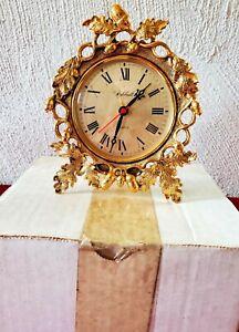 Vintage Stylebuilt 24k Gold Plated Quartz Clock #242