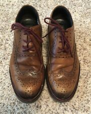 To Boot New York Brown Cognac Wing Tip Shoes Maroon Stitching & Laces Men's 9.5