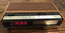 Vtg GE Alarm Clock Radio AM/FM Snooze Model 7-4633 Faux Wood Red LED Display