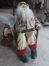 Santa Claus Gone Fishing doll w/ chair