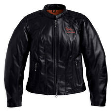 Harley Davidson Womens Classic Wing Black Leather Riding Jacket 98153-09VW L New