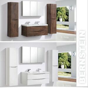 Badmöbelset Doppelwaschbecken Waschtisch 120cm Badezimmermöbel LED Lichtspiegel