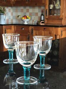 Set of 3 DENBY Greenwich / Regency Green Wine or Water Glasses Goblets
