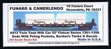 Funaro F&C 6913 MILK CAR Twin Tank 52' NATIONAL Car Flatcar  BORDEN'S Poling Pkt