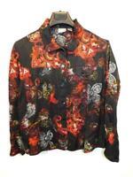 Chico's Size 3 XL Black Orange Floral Paisley Shirt Silk Linen Button Jacket XL