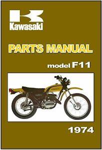KAWASAKI Parts Manual F11 A F11A F11-A 1974 Replacement Spares Catalog List