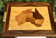 1930s ART DECO INLAID WOOD AUSTRALIA SERVING TRAY - BAKELITE HANDLES & GLASS TOP