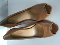 COLE HAAN Women's Beige/Nude/Tan Open Toe Slingback Pumps, Size 7b