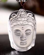 100%Natural Clear White Crystal Quartz Buddha Vairocana Pendant+Necklace Healing