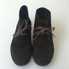 Boys Clarks Orginals Desert Boots Chocolate Brown Suede Leather Size 1 (EU32)