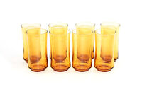 SET OF 8 VINTAGE LIBBEY MID CENTURY ORANGE TUMBLER DRINKING GLASSES 1960s