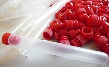 100 Count 13 x 100 mm Plastic Test Tubes Frosted/Clear With Red Caps, New