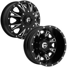 "Set of 4-Fuel D513 Throttle Dually 17 Inch 8x6.5"" Black/Milled Wheels Rims"