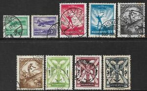 HUNGARY - 1933 - AIR SET OF 9 - USED - SG 554/562 - CAT £275