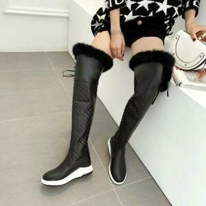 New Womens Fur Trim wedge Heel Snow Winter warm thicken Over The Knee High Boots